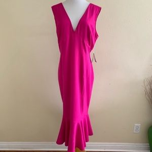 Marina V Neck Dress Pink Flounce Hem Sleeveless